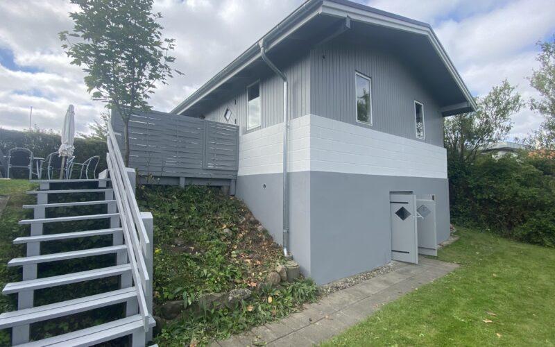 Udvendig malerbehandling af facade, kælderdør, udhæng, stern og trapper